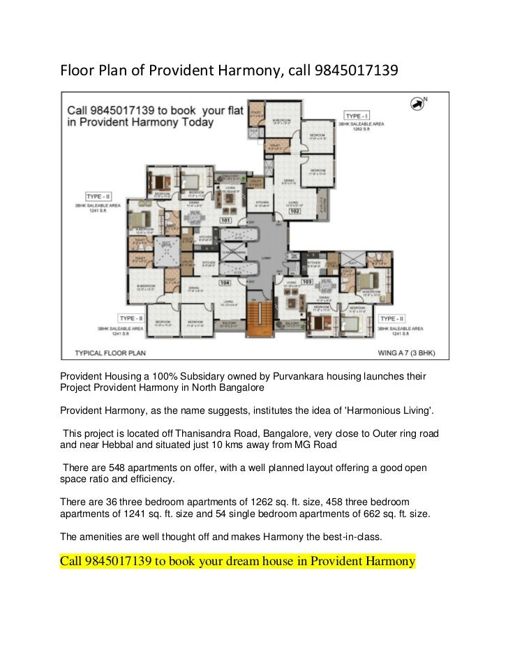 Floor Plan of Provident Harmony, call 9845017139Provident Housing a 100% Subsidary owned by Purvankara housing launches th...