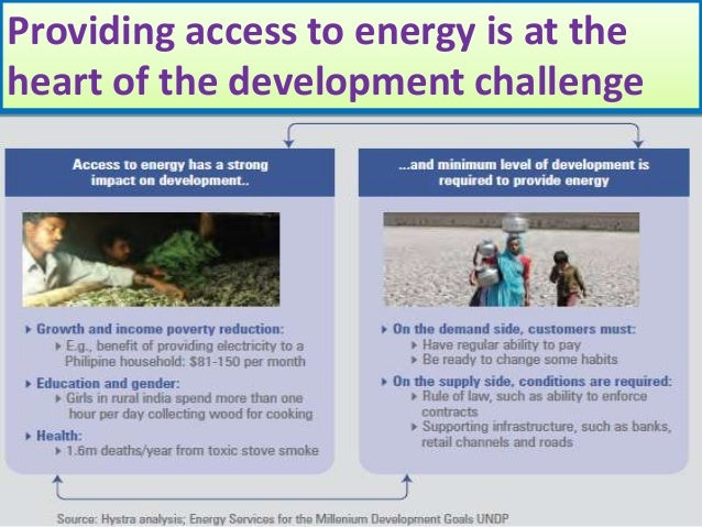 Providing access to energy is at theheart of the development challenge