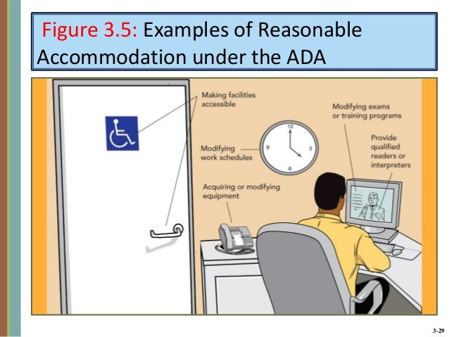 what is reasonable accommodation under ada essay A reasonable accommodation is an adjustment made in a system to  accommodate or make fair  the americans with disabilities act, known as ada , was signed into law on july 26, 1990 it carried forward material from section  504 of the.