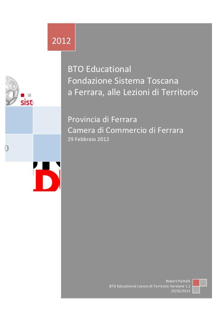 Lezioni di Territorio 29 febbraio 2012 - Ferrara