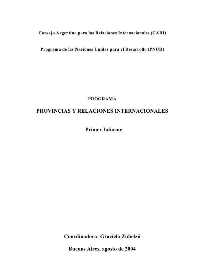 Provincias Y Relaciones Internacionales