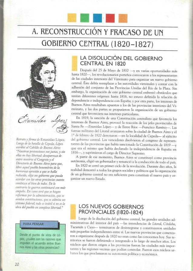 A.  REOONSTRUOCION Y FRACASO DE UN GOBIERNO CENTRAL (1820-1827)           Retrato _'_fÏ)7II¡7 de Estanislao López.  Luego ...