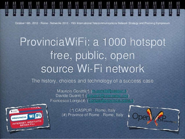 Provinciawifi IEEE Networks 2012