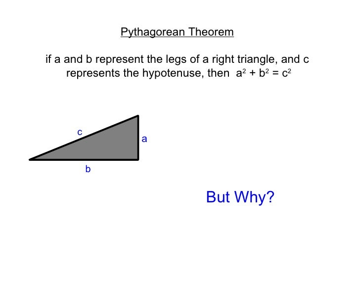 Pythagorean Theorem if a and b represent the legs of a right triangle, and c represents the hypotenuse, then  a 2  + b 2  ...