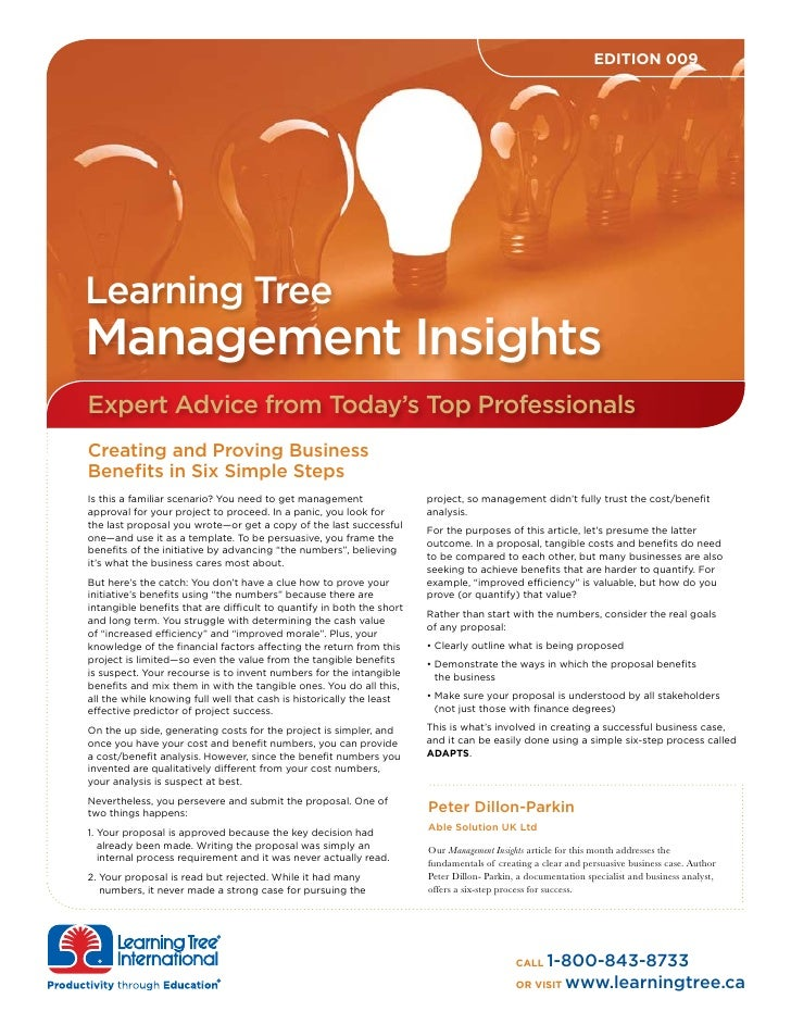 EDITION 009     Learning Tree Management Insights Expert Advice from Today's Top Professionals Creating and Proving Busine...