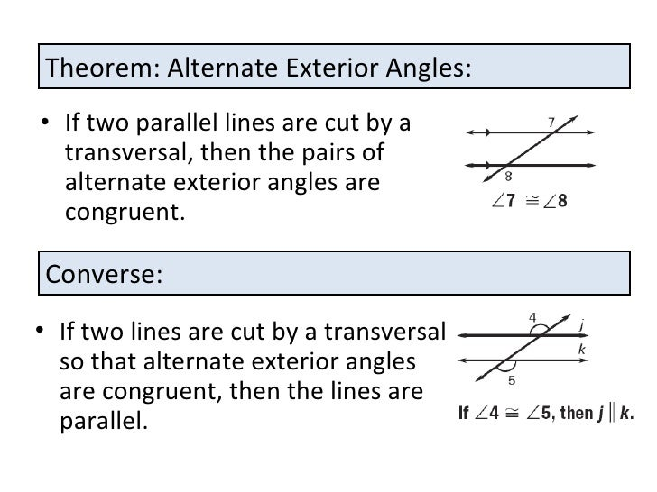 Proving lines are parallel for Alternate exterior angles conjecture