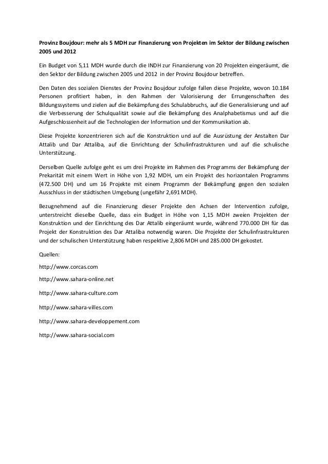 Provinz boujdour mehr als 5 mdh zur finanzierung von projekten im sektor der bildung zwischen 2005 und 2012