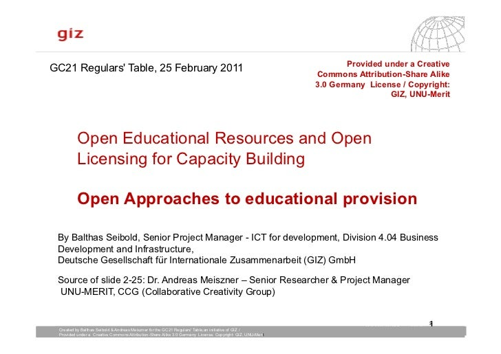 Open Educational Resources and Open Licensing for Capacity Building