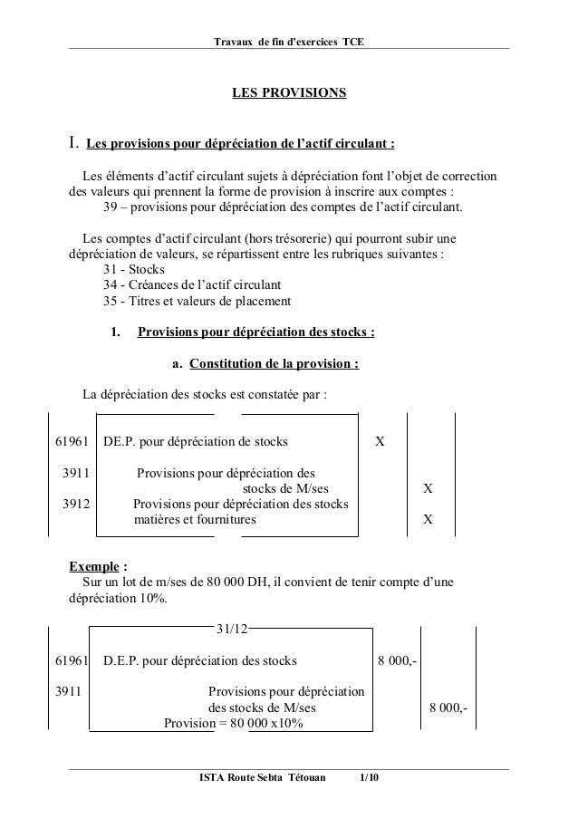 Travaux de fin d'exercices TCE                                   LES PROVISIONS  I.   Les provisions pour dépréciation de ...