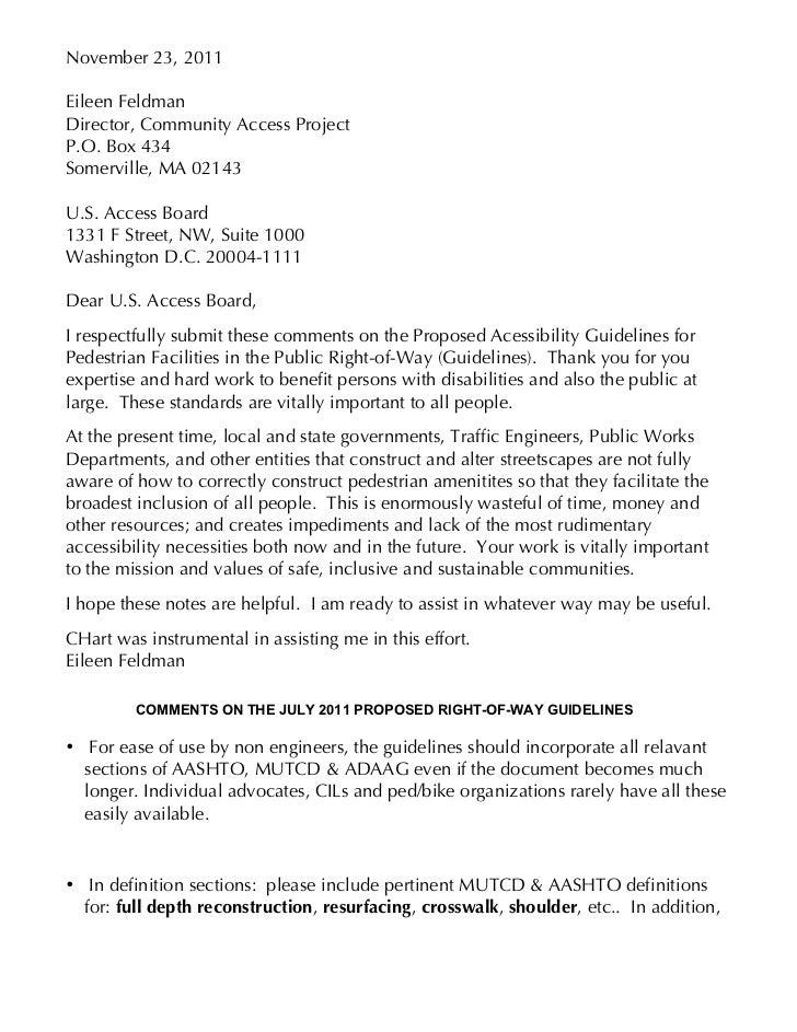 U.S. Access Board- PROW comments FELDMAN 11 23 11