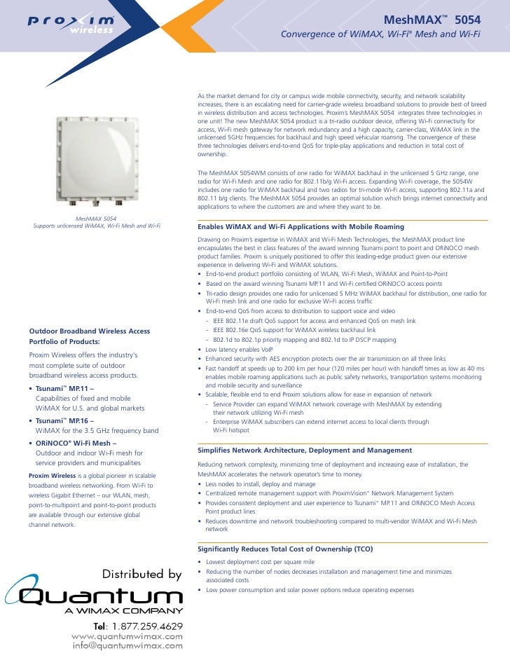 MeshMAX™ 5054                                                                                   Convergence of WiMAX, Wi-F...
