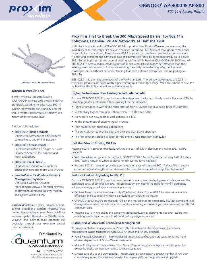 Proxim' Wireless Orinoco Ap 8000 Ap 800 (quantumwimax.com)