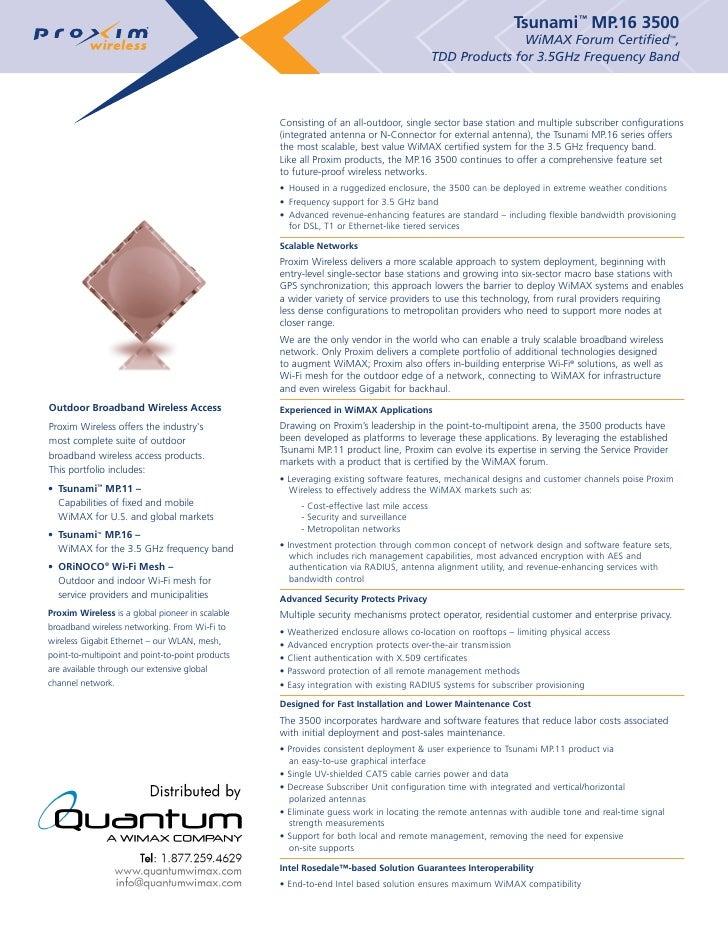 Proxim Tsunami Mp 16 3500 - Product Description (quantumwimax.com)