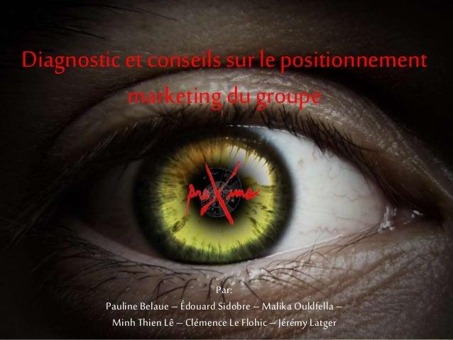 Diagnostic et conseils sur le positionnement marketing du groupe Par: Pauline Belaue – Édouard Sidobre – Malika Ouldfella ...