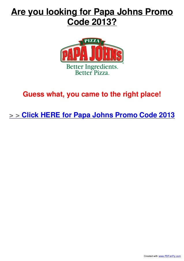 Promo code papa johns nfl