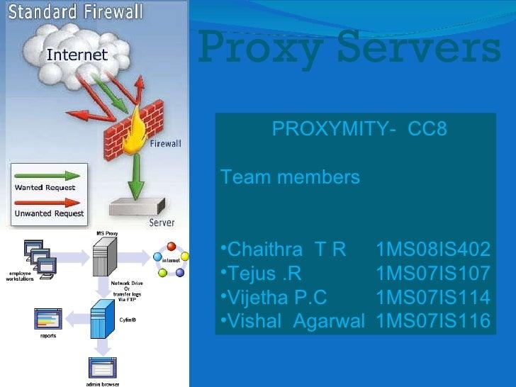 Proxy Servers <ul><li>PROXYMITY-  CC8 </li></ul><ul><li>Team members </li></ul><ul><li>Chaithra  T R 1MS08IS402 </li></ul>...
