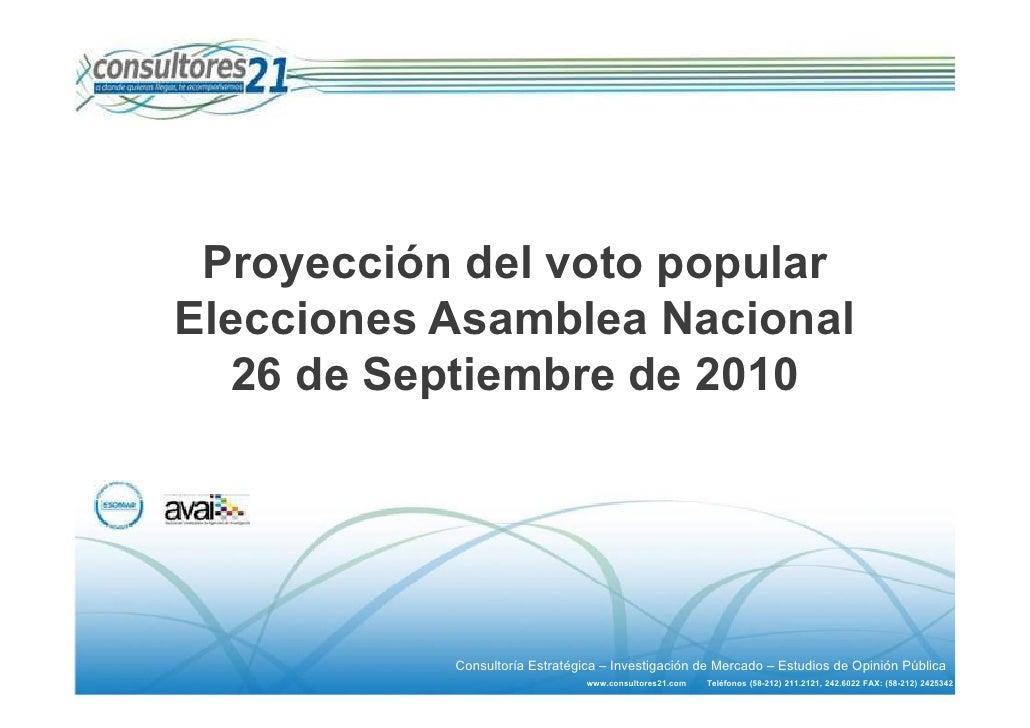 Proyección del voto popular Elecciones Asamblea Nacional   26 de Septiembre de 2010                Consultoría Estratégica...