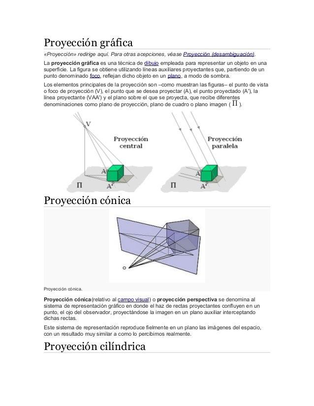 Proyección gráfica «Proyección» redirige aquí. Para otras acepciones, véase Proyección (desambiguación). La proyección grá...