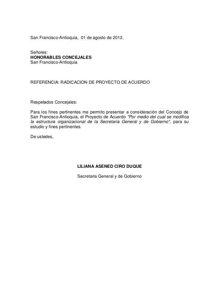 San Francisco-Antioquia, 01 de agosto de 2012.Señores:HONORABLES CONCEJALESSan Francisco-AntioquiaREFERENCIA: RADICACION D...