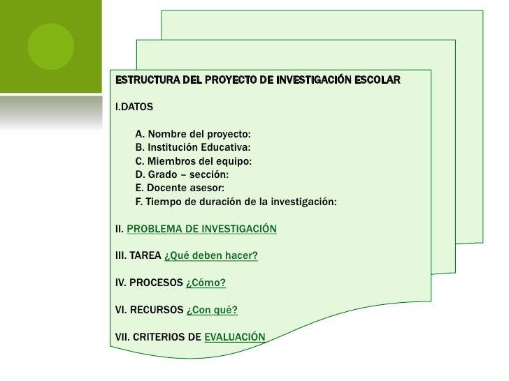 El Proyecto De Investigaci N Escolar