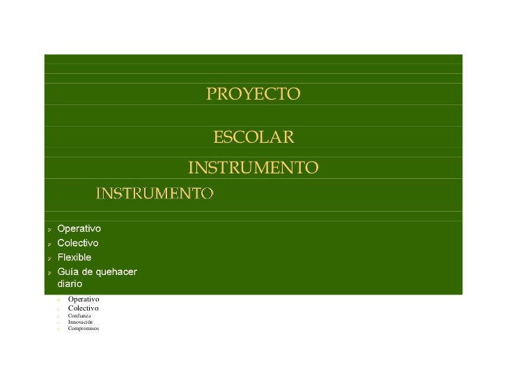 PROYECTOESCOLAR <br />INSTRUMENTO <br />Operativo <br />Colectivo  <br />Confianza <br />Innovación <br />Compromisos <br ...