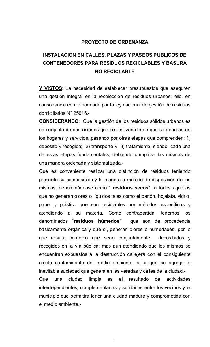 PROYECTO DE ORDENANZA INSTALACION EN CALLES, PLAZAS Y PASEOS PUBLICOS DE CONTENEDORES PARA RESIDUOS RECICLABLES Y BASURA  ...