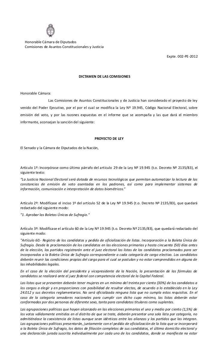 Honorable Cámara de Diputados  Comisiones de Asuntos Constitucionales y Justicia                                          ...
