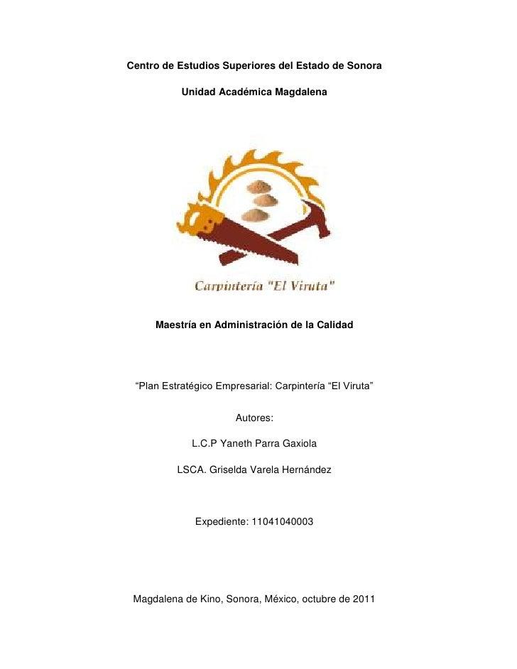 Centro de Estudios Superiores del Estado de Sonora           Unidad Académica Magdalena     Maestría en Administración de ...
