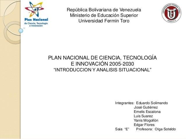 Plan Nacional CTI 2005-2030