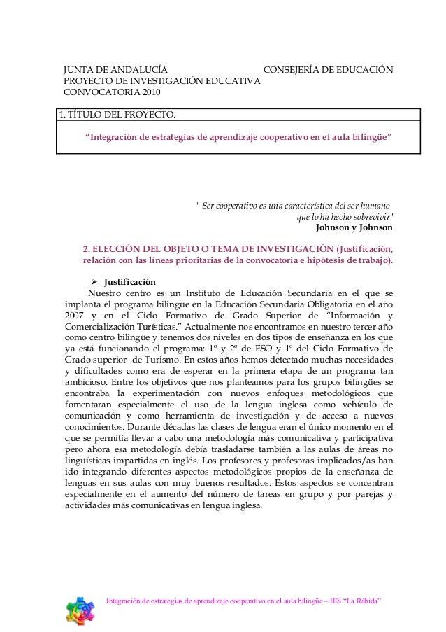 """Proyecto Investigación """"Integración de estrategias de aprendizaje cooperativo en el aula bilingüe"""""""