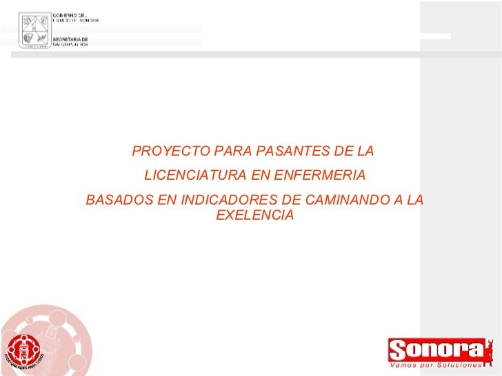 PROYECTO PARA PASANTES DE LA  LICENCIATURA EN ENFERMERIA BASADOS EN INDICADORES DE CAMINANDO A LA EXELENCIA