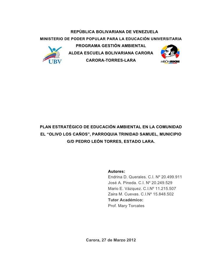 REPÚBLICA BOLIVARIANA DE VENEZUELAMINISTERIO DE PODER POPULAR PARA LA EDUCACIÓN UNIVERSITARIA              PROGRAMA GESTIÓ...