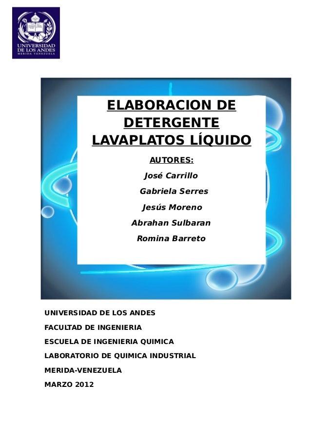 UNIVERSIDAD DE LOS ANDES FACULTAD DE INGENIERIA ESCUELA DE INGENIERIA QUIMICA LABORATORIO DE QUIMICA INDUSTRIAL MERIDA-VEN...