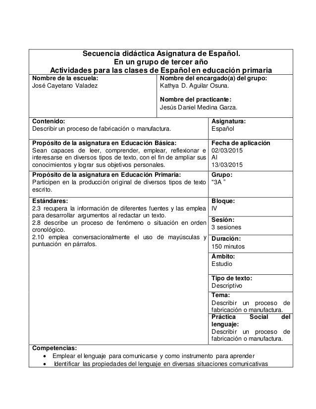 Secuencia didáctica Asignatura de Español. En un grupo de tercer año Actividades para las clases de Español en educación p...