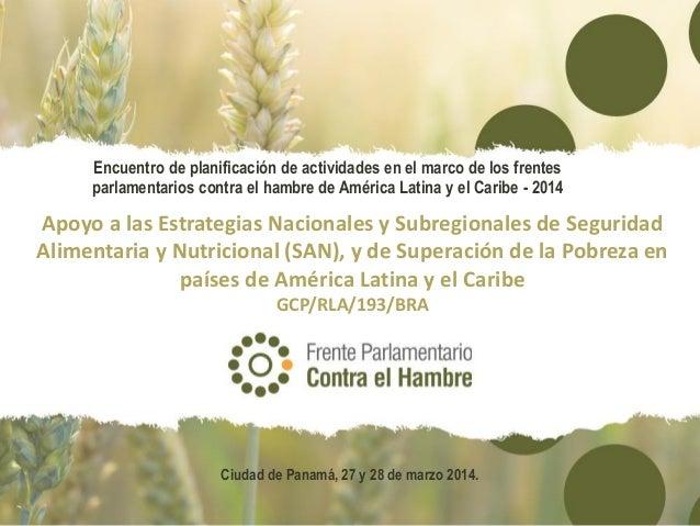 Apoyo a las Estrategias Nacionales y Subregionales de Seguridad Alimentaria y Nutricional (SAN), y de Superación de la Pobreza en países de América Latina y el Caribe