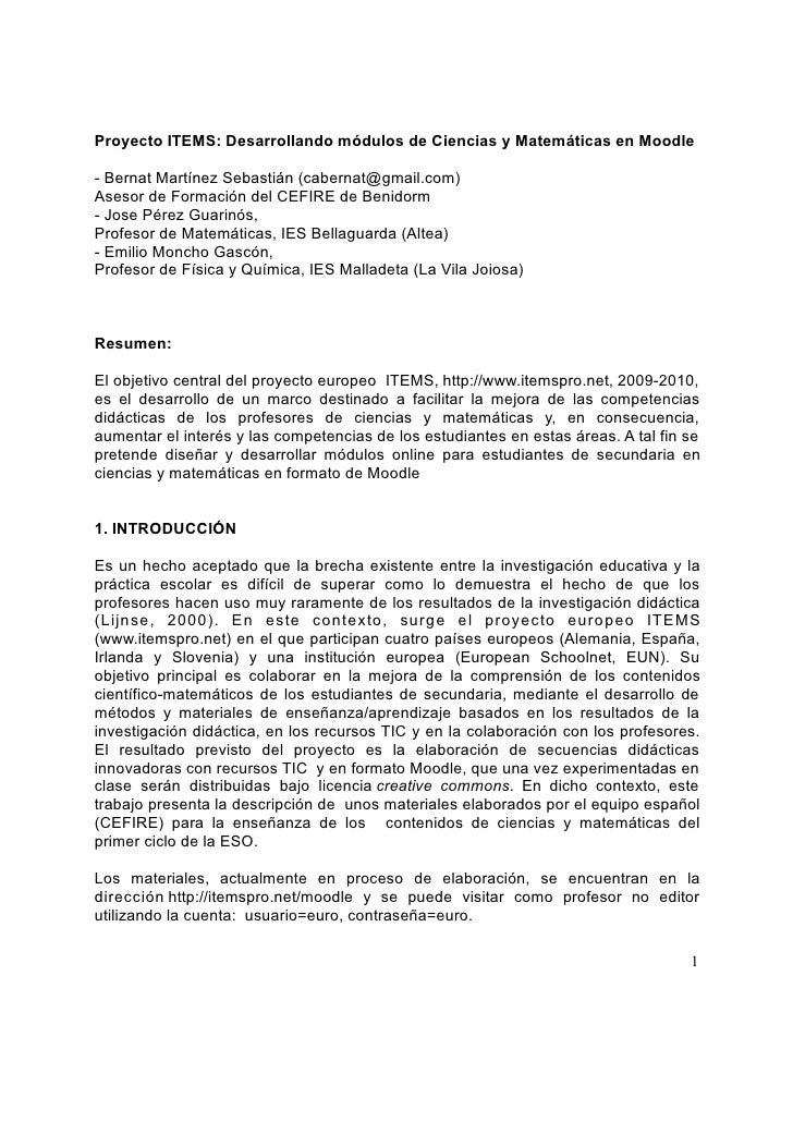 Proyecto ITEMS: Desarrollando módulos de Ciencias y Matemáticas en Moodle  - Bernat Martínez Sebastián (cabernat@gmail.com...