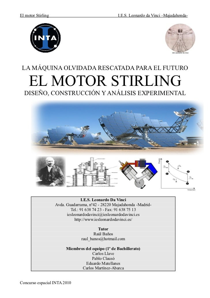 El motor Stirling                                    I.E.S. Leonardo da Vinci –Majadahonda- LA MÁQUINA OLVIDADA RESCATADA ...