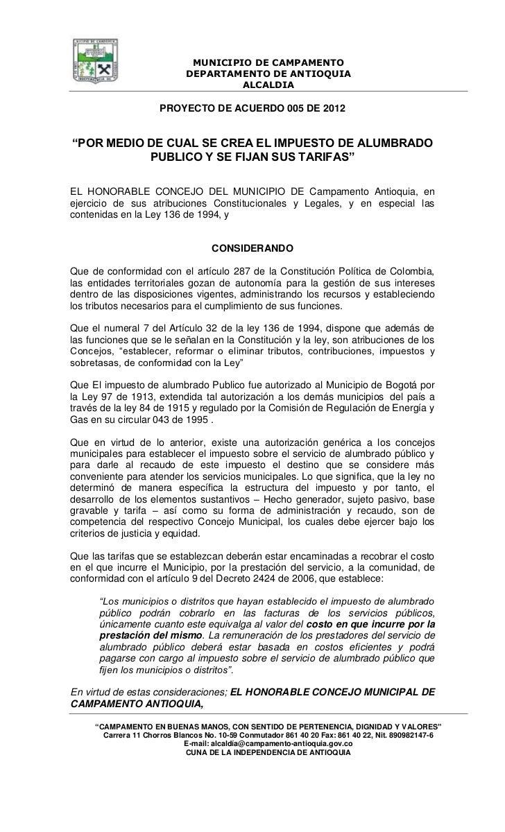 MUNICIPIO DE CAMPAMENTO                             DEPARTAMENTO DE ANTIOQUIA                                      ALCALDI...