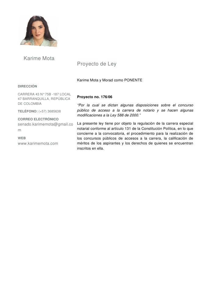Karime Mota                                  Proyecto de Ley                                   Karime Mota y Morad como PO...
