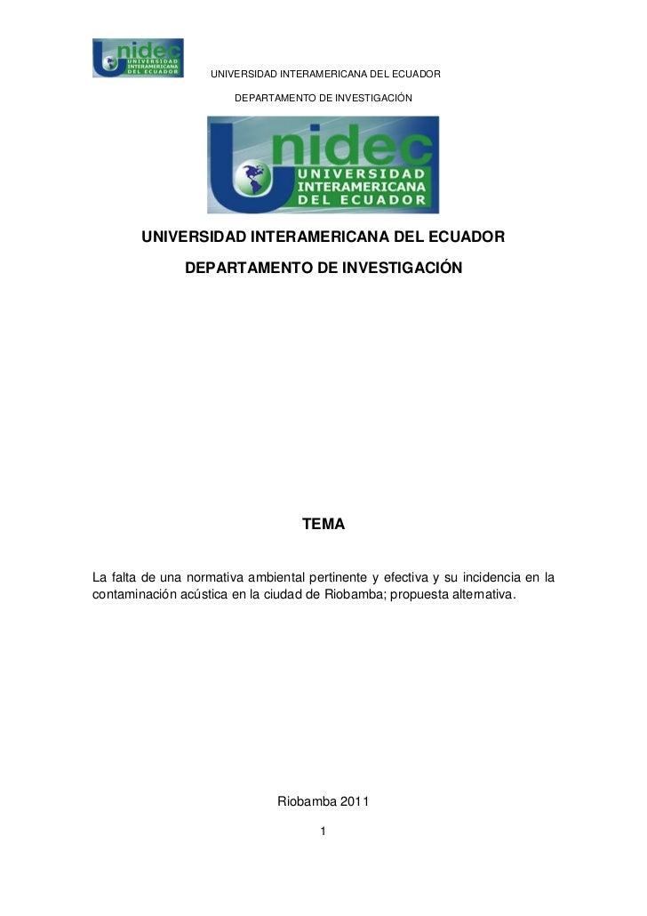 UNIVERSIDAD INTERAMERICANA DEL ECUADOR                        DEPARTAMENTO DE INVESTIGACIÓN        UNIVERSIDAD INTERAMERIC...