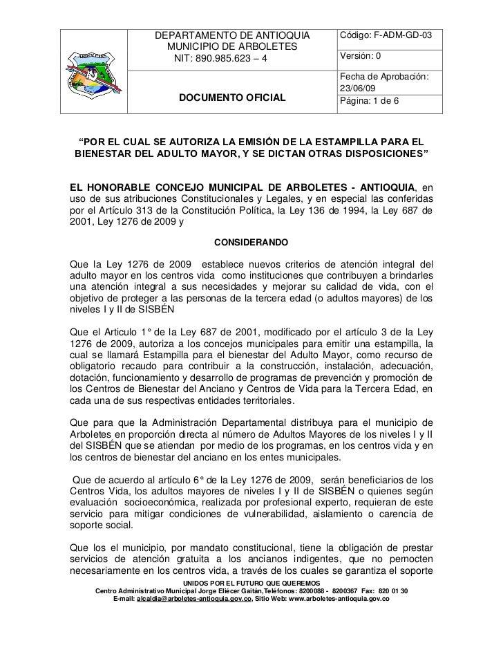 DEPARTAMENTO DE ANTIOQUIA                                Código: F-ADM-GD-03                         MUNICIPIO DE ARBOLETE...