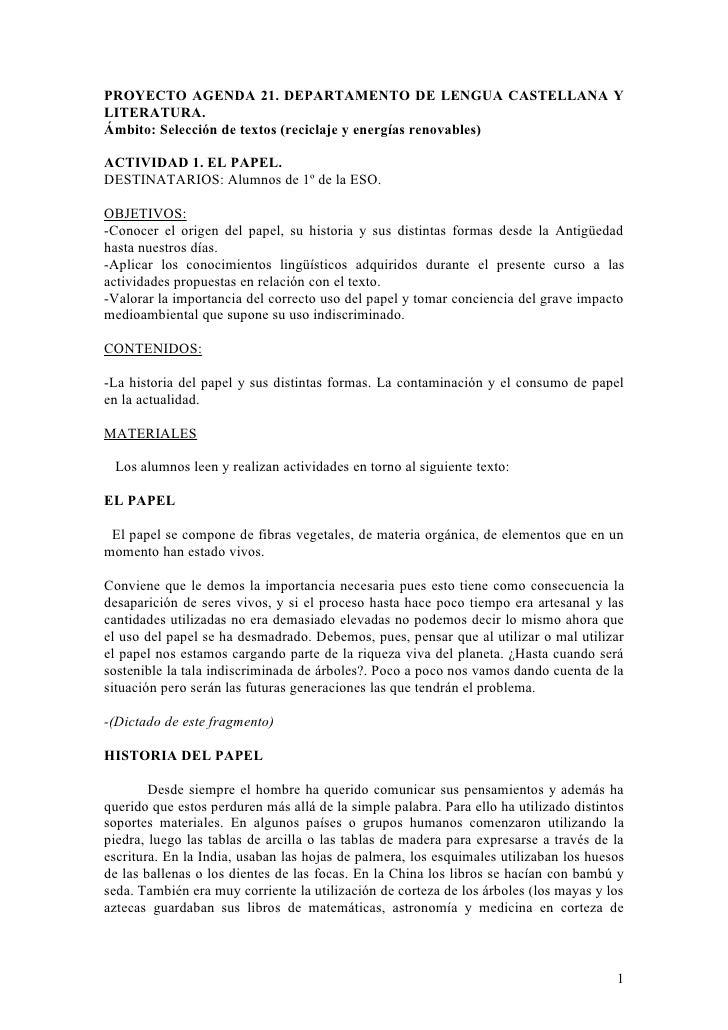 PROYECTO AGENDA 21. DEPARTAMENTO DE LENGUA CASTELLANA Y LITERATURA. Ámbito: Selección de textos (reciclaje y energías reno...
