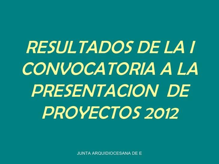 RESULTADOS DE LA ICONVOCATORIA A LA PRESENTACION DE  PROYECTOS 2012     JUNTA ARQUIDIOCESANA DE EDUCACION CATOLICA