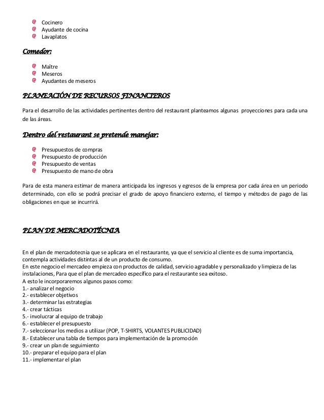Resume for restaurant next mechanic resumes truck resume for Proyecto restaurante pdf