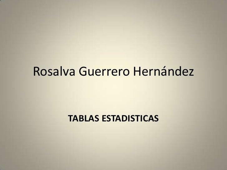 Rosalva Guerrero Hernández     TABLAS ESTADISTICAS