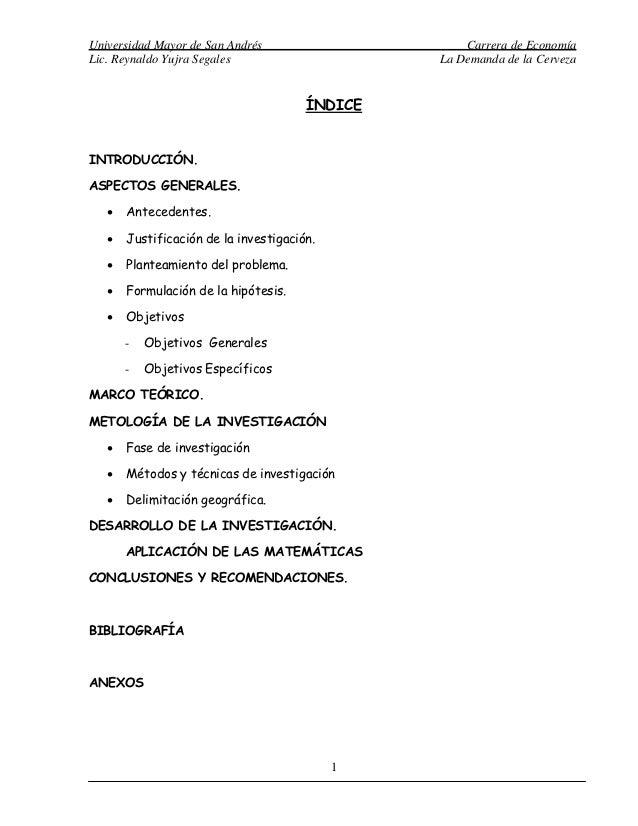 Universidad Mayor de San Andrés                     Carrera de EconomíaLic. Reynaldo Yujra Segales                     La ...