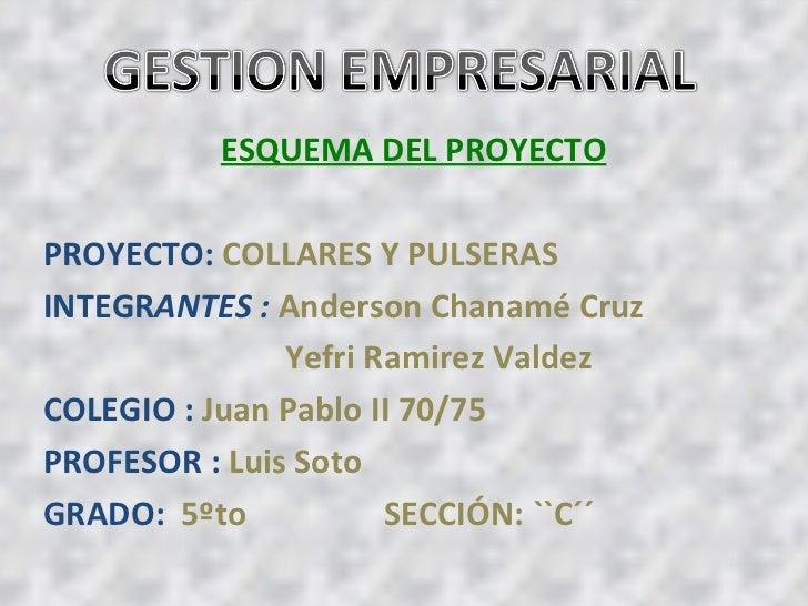 ESQUEMA DEL PROYECTO PROYECTO:  COLLARES Y PULSERAS  INTEGR ANTES :  Anderson Chanamé Cruz Yefri Ramirez Valdez COLEGIO : ...