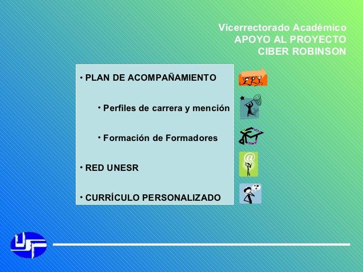 Vicerrectorado Académico APOYO AL PROYECTO CIBER ROBINSON <ul><li>PLAN DE ACOMPAÑAMIENTO </li></ul><ul><ul><li>Perfiles de...