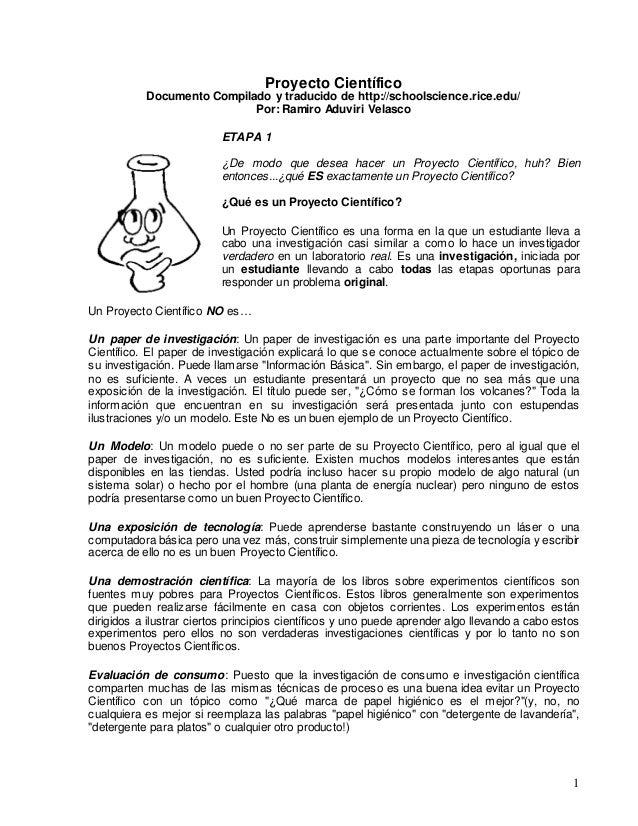 1 Proyecto Científico Documento Compilado y traducido de http://schoolscience.rice.edu/ Por: Ramiro Aduviri Velasco ETAPA ...