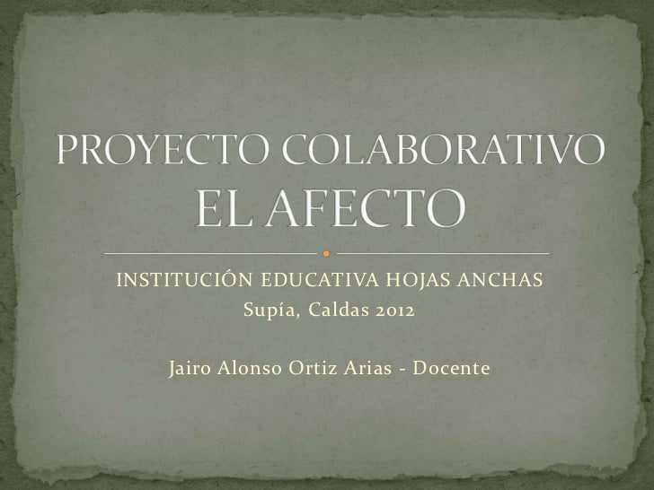 INSTITUCIÓN EDUCATIVA HOJAS ANCHAS          Supía, Caldas 2012    Jairo Alonso Ortiz Arias - Docente